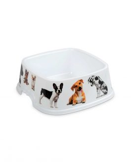 PET FOOD/WATER BOWL 0.75L W/PICTURES SQ