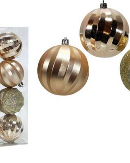 XMAS TREE BALLS 8/SET 60MM CHAMPAGNE