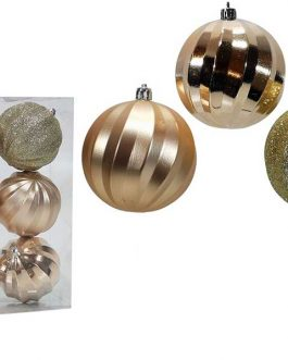 XMAS TREE BALLS 6/SET 80MM CHAMPAGNE