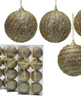 XMAS TREE BALLS 8/SET 80MM GOLDL