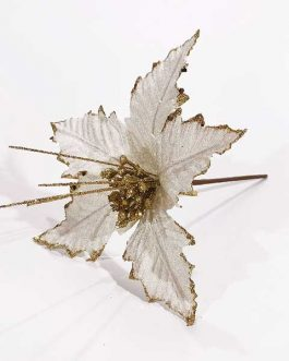 XMAS TREE ORN. FLOWER WHT 25CM